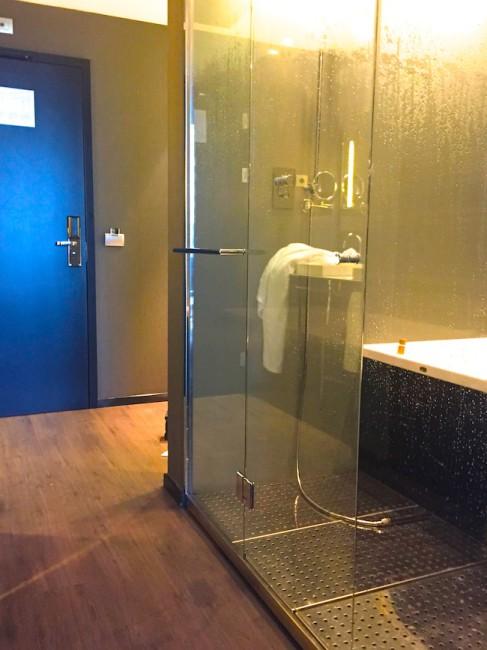 От входа в комнату идешь мимо ванной, похожей на кабину для нуль-транспортировки (на фото она справа, а слева вход в номер)