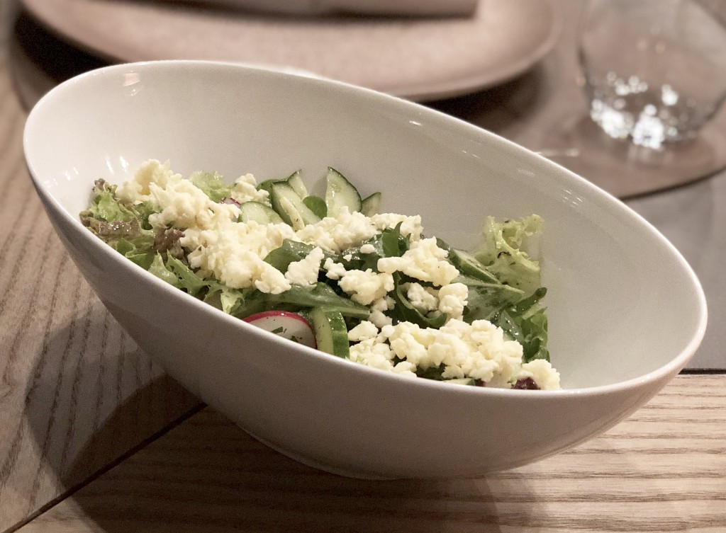 Салат из багаевских огурцов, редиса и брынзы